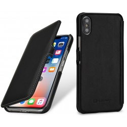 StilGut - Etui Apple iPhone X - UltraSlim Book, black nappa