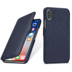 StilGut - Etui Apple iPhone X - UltraSlim Book, darkrblue nappa