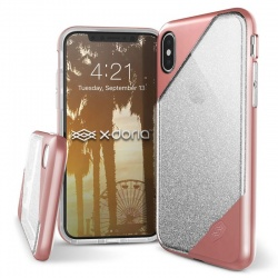 X-DORIA REVEL LUX - ETUI IPHONE X (ROSE GOLD GLITTER)