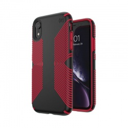 SPECK PRESIDIO GRIP - ETUI IPHONE XR (BLACK/DARK POPPY RED)