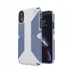 SPECK PRESIDIO GRIP - ETUI IPHONE XR (MICROCHIP GREY/BALLPOINT BLUE)